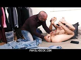 Familydick daddy jerks off shy Twink