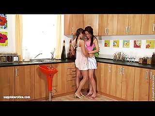 Two hot brunettes have anal fun with didlo on Sapphic Erotica