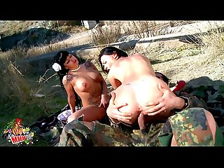 Two lesbians sluts having fun with a tied military guy
