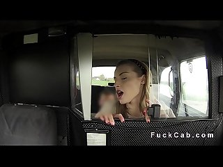 Beautiful babe gets facial in fake taxi