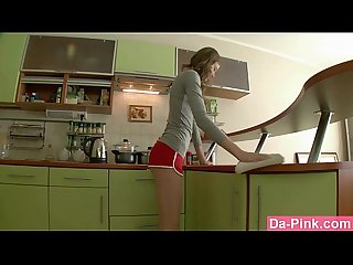 Kitchen anal sex with slutty teen
