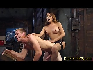 Transgender dom ass fucks sub before cumshot