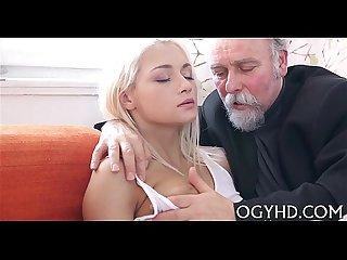 Juvenile hottie teased by old crock