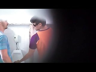 Hot spy cam hung bathroom blowjob