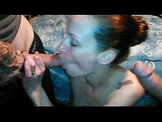 Sexy amateur housewife being a slut and sucking two cocks at the same time