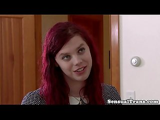 Redhead tranny teen seduces lucky older guy