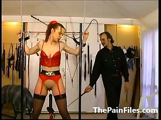 Rough whipping and slave sex of tied up amateur submissive in latex fetish wear