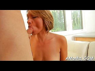 Mature chick sucks and swallows
