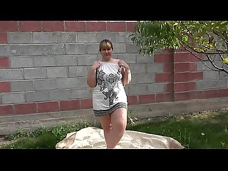 Anal masturbation in The garden outdoors comma a bbw is entertained with a Sex toy and shakes a big