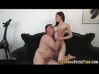 Teen gobbles senior cock