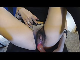 Young Wet Hairy Pussy in Gradient Panties gets Pink Jelly Dildo