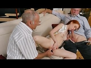 Redheaded Teen Dolly Little On Sofa With Two Dirty Old Men