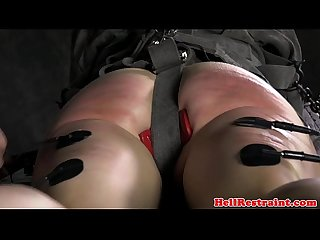 Electro punished sub pleased with toy
