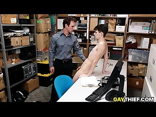 Skinny twink shoplifter fucked by gay cop