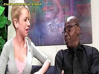 Young blonde sucks giant black cock