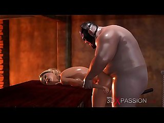 3dxpassion.com. Fat maniac fucks a beautiful blonde in the basement.