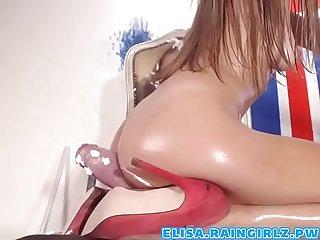 Petite babe fucks huge dildo