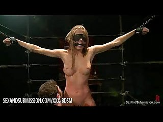Bondage blonde babe gets masturbation with orgasm