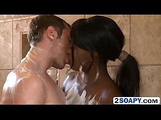 Black beauty tatiyana foxx showers with white man and sucks his dick foxx