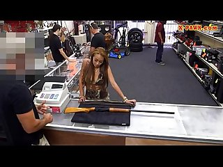 Amateur making money by fucking her muff at the pawn shop