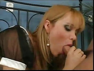 Amazing blonde shemale tranny maid in uniform fucked on bed by young stud