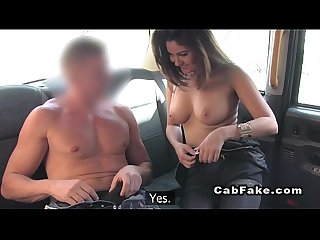 shaved pussy hottie bangs in fake cab pov
