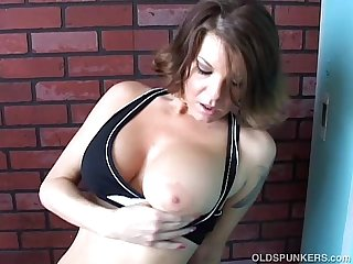 Fit old spunker frigs her soaking wet pussy for you
