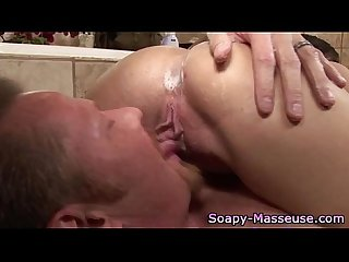 Sexy babe soapy massage blowjob cumshot facial