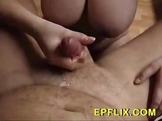 Busty babe handjob