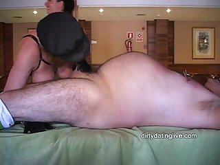 Fem dom ava tortures fat wimp willy as big tit slut milf sucks his prick