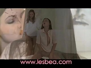 Lesbea face sitting orgasm with adorable young teen in pantyhose