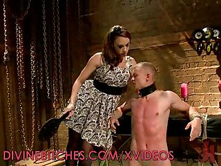 Pegged and tormented man slave