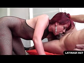 Thick latina swallows a creamy load