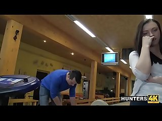 Stranger strikes teen pussy at bowling alley while bf cuckolds