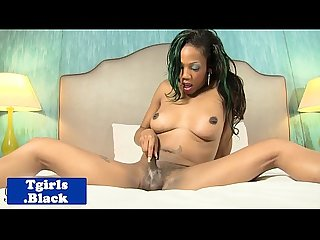 Seductive nubian transsexual jerking