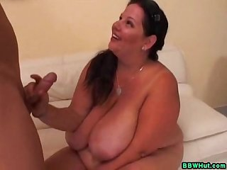 Milf bbw uses huge tits and mouth to work his cock