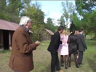 Crazy orgy for milfs and dirty old men in a garden