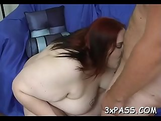 Man fingers and fucks luscious muff of one nasty fat woman
