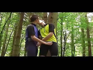 Cycling worship comma and rubbing each other bulges in lycra