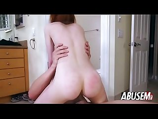 Tiny redhead Dolly Little sucking monster cock and getting pussy destroyed