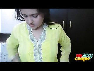 Indian Bhabhi Sonia In Yellow Shalwar Suit Getting Naked In Bedroom For Sex