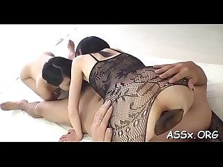 Charming asian charms with wild blowbang to receive unfathomable anal