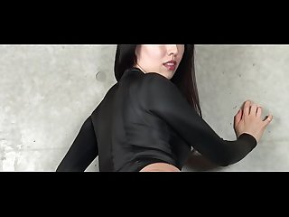 Asahi sugawara high leg leotard black and stockings legs comma ass fetish image video solo lpar orig
