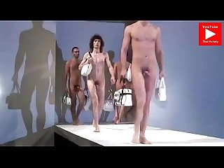 Naked guys on fashion show