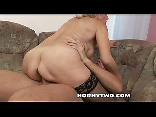 Horny juicy old granny gets her fat wet shaved pussy destroyed by young boy