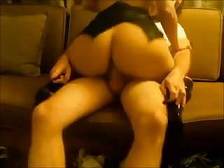 Amateur sexy brunette on homemade sex tape