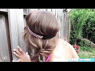 Brunette and petite kimmy granger gets caught and fucked by neighbor