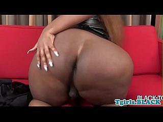 Bigass black tgirl teases and jerks off