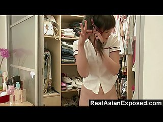 Jailbait petite asian teen strips and fucks herself