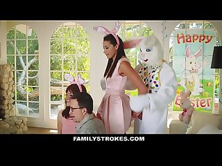 Familystrokes cute teen fucked by easter bunny uncle